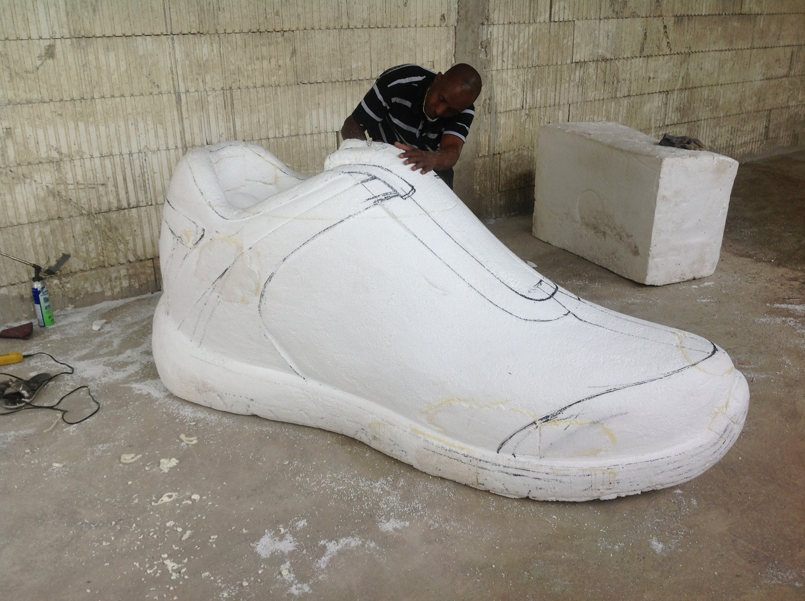 Sneakers carved from EPS 1